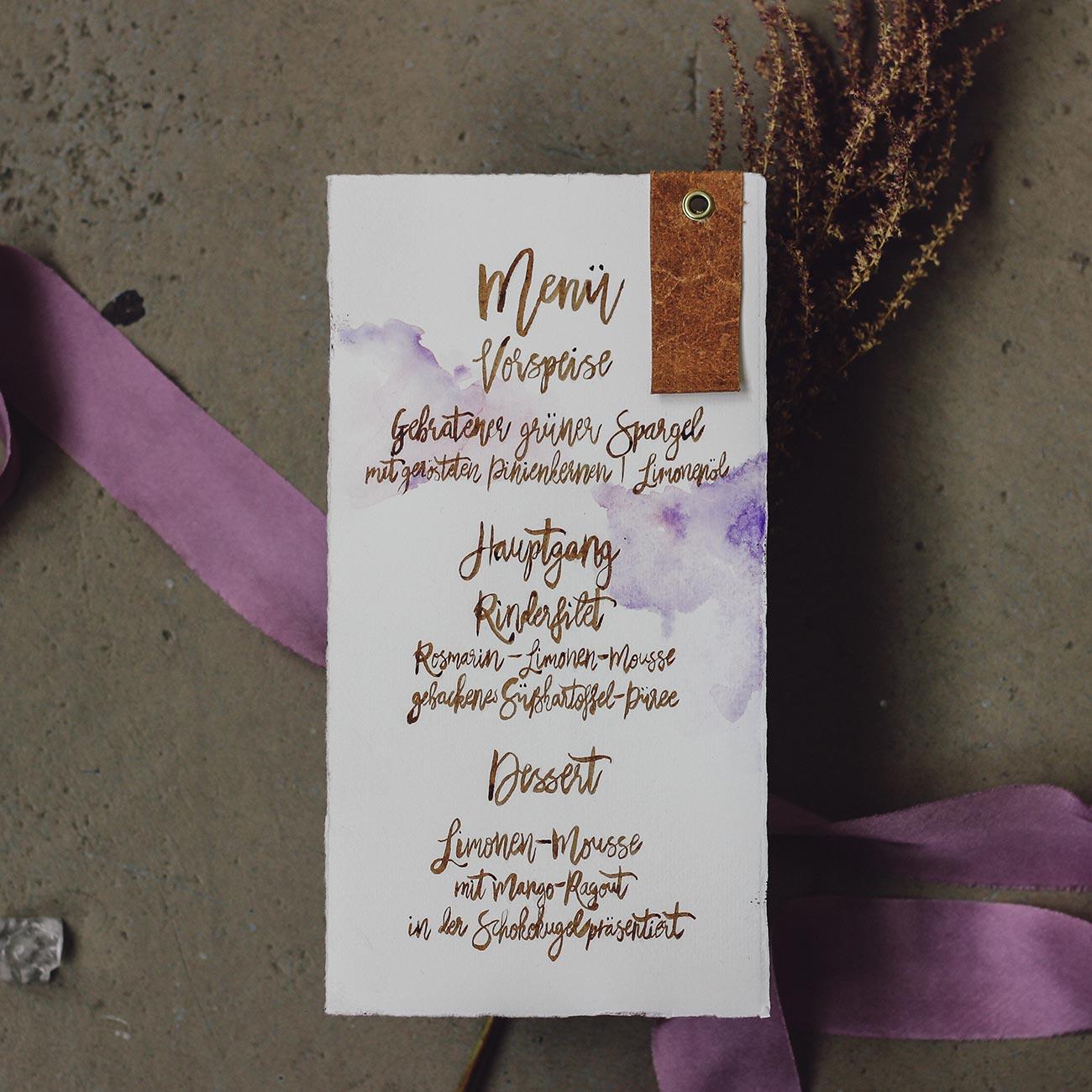 Hochzeitseinladung Menükarte Boho Vintage