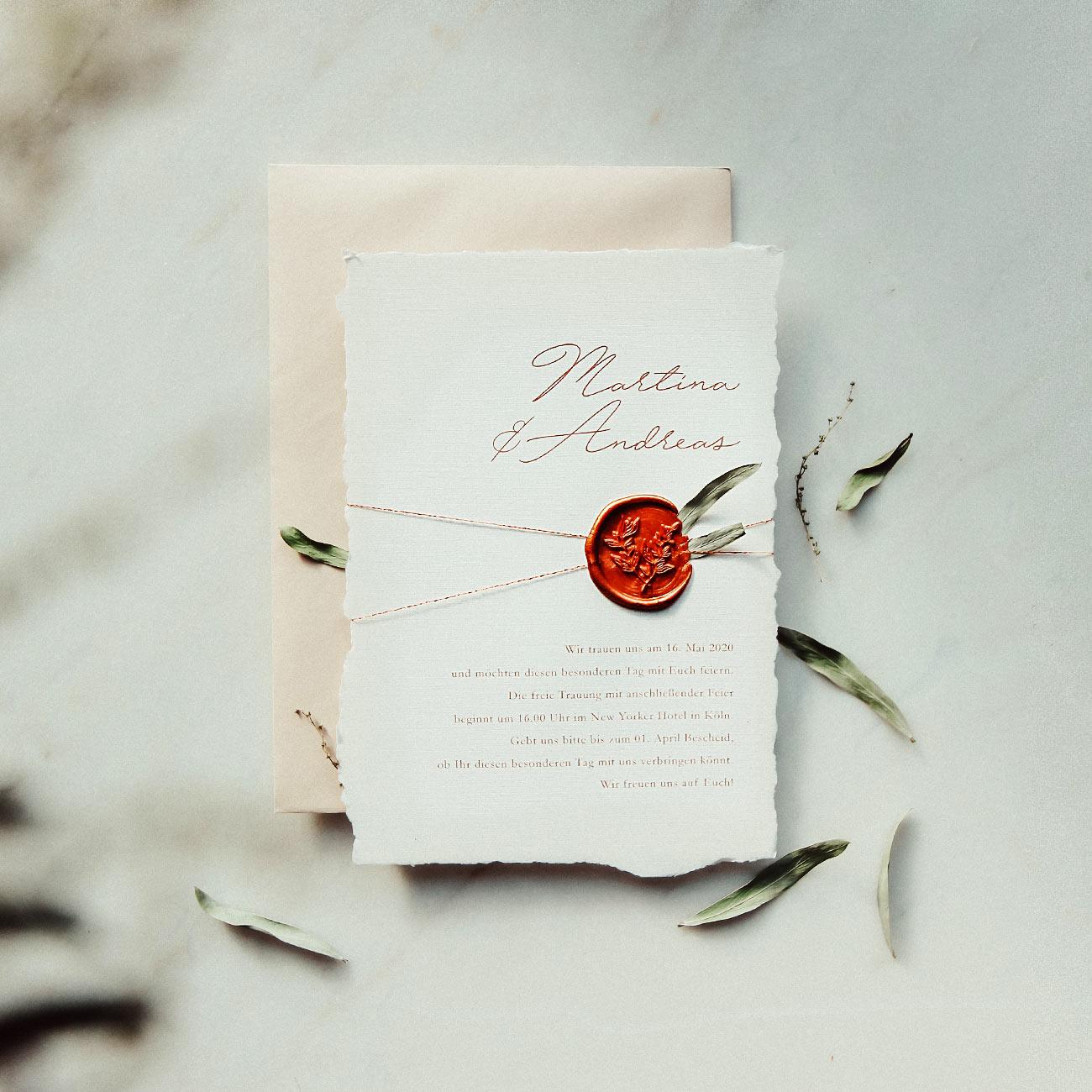 hochzeitspapeterie Hochzeitseinladung kupfer